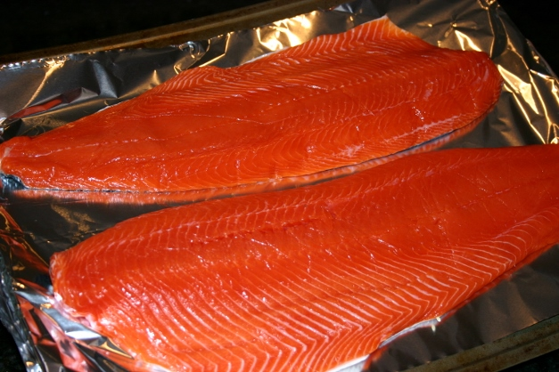 Gorgeous Copper River Salmon from Heinen's, ready to grill
