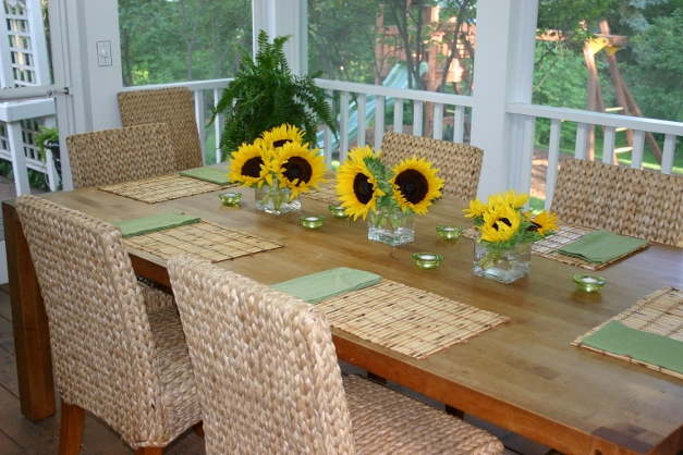 Heinen's sunflowers brightened our table - $12 for 3 bunches