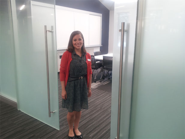 Business Liaison Librarian Barbara Alvarez is ready to welcome you to the new Conference Room in the library's Business & Technology Center.