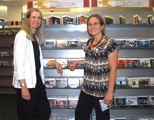 Librarians Kate Mills and Gwyneth Stupar are part of the team working on making the library's CD collection easier to browse and search