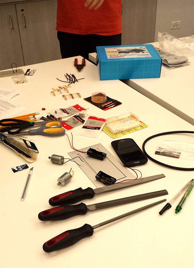 These are the parts Maker Camp students used to make a robot at the library