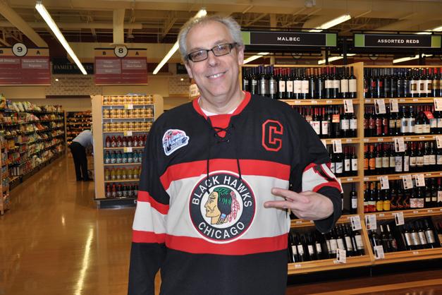 "Ken O'Connor in his Chicago Blackhawks' ""Good JuJu"" Jersey"