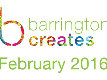 Multi-colored Barrington Creates logo with lowercase b, green text reading February 2016