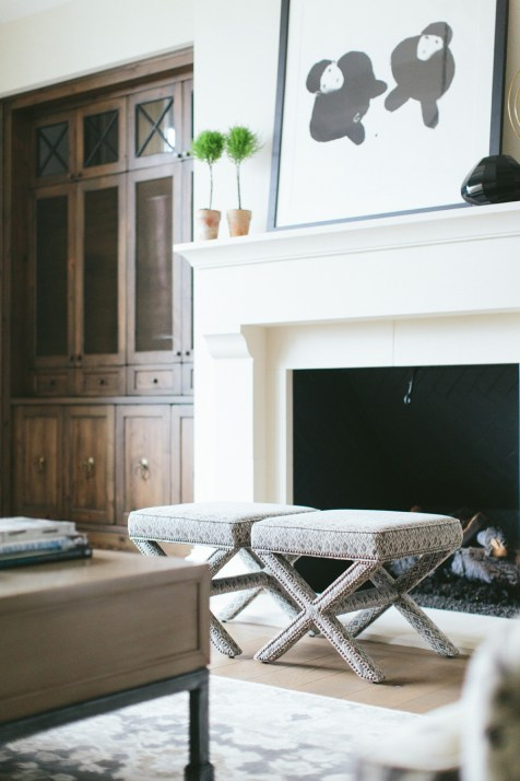 Patterned x-stools for fireside chats