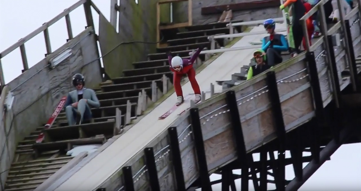 video  ski jumping siblings  casey  u0026 cara larson compete in international championships