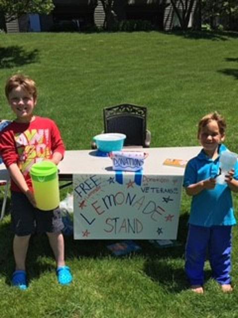 Matthew and Blake Bergstrom at their lemonade stand - Photo by Sharon Bergstrom