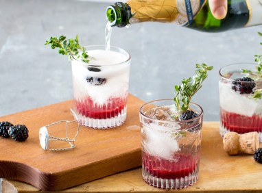 Blackberry & Thyme Champagne Cocktail - Table and Dish for Heinen's Grocery