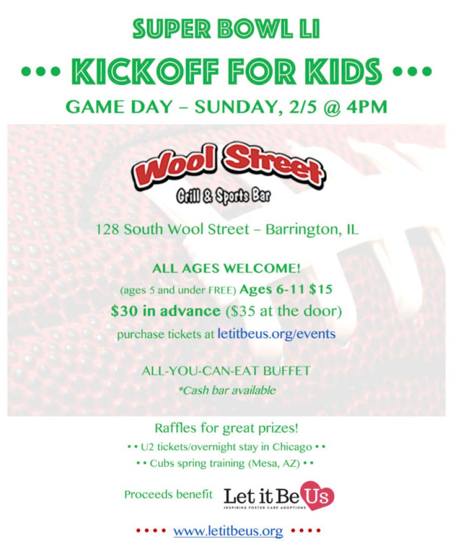Post - Let It Be Us - Kids Super Bowl Party at Wool Street Grill