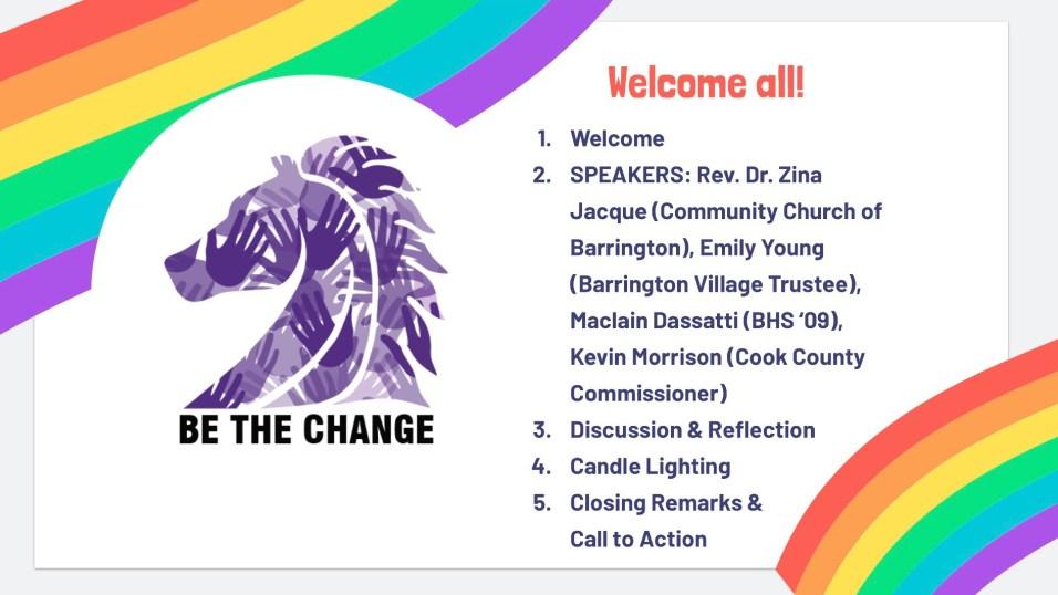 Sandra Ficke-Bradford for Barrington 220 Board of Education - Be the Change Vigil