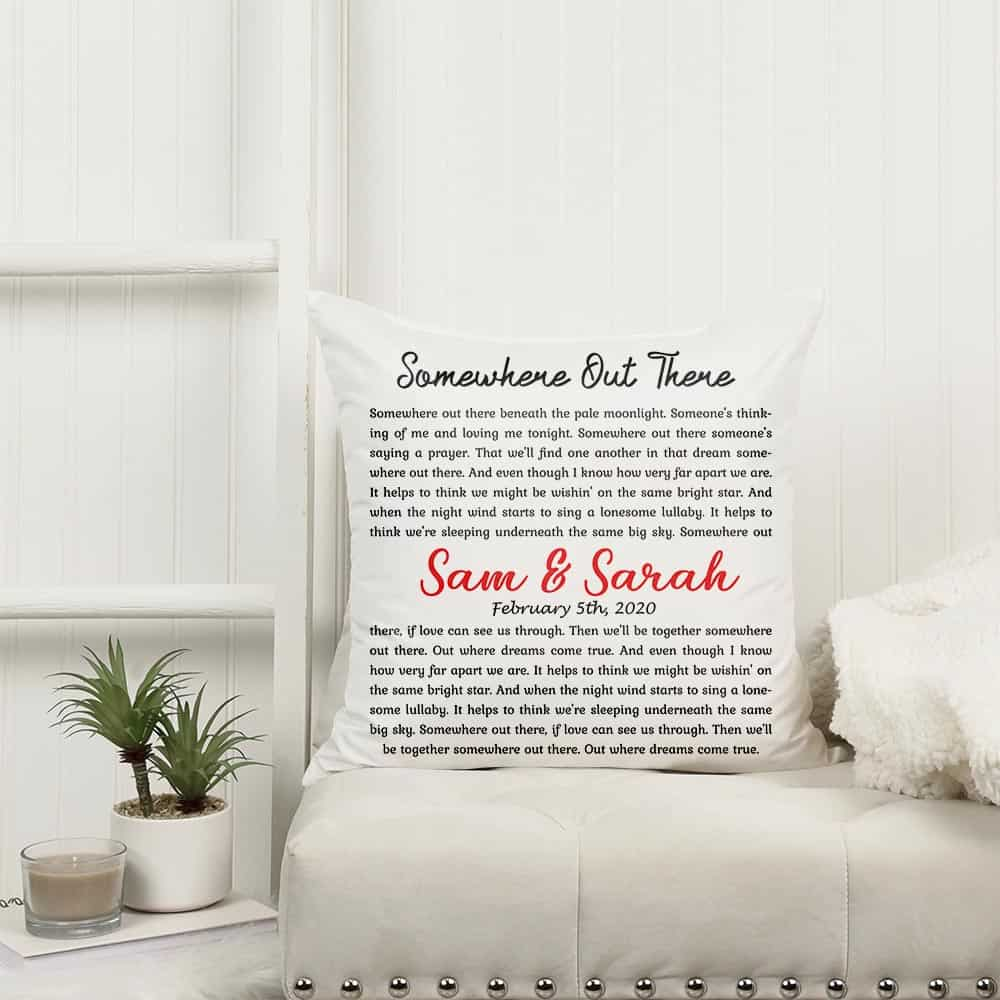 personalized song lyrics suede pillow with names and date 365canvas