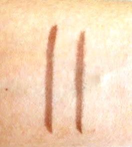 Milani Brow Tint Pen and NYX Eyebrow Marker on Skin