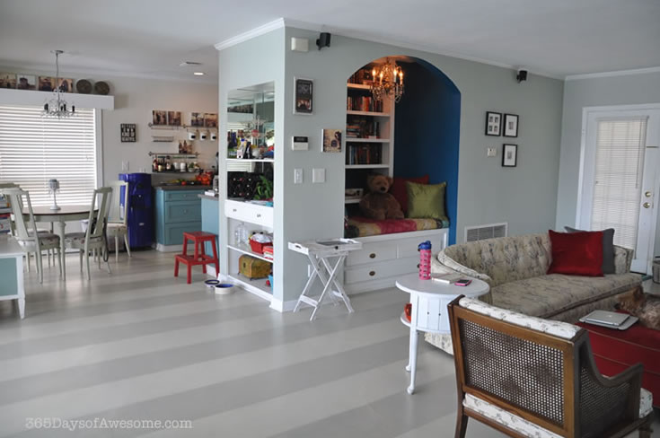 These are my hand painted floors. I painted wide stripes for a more coastal look, and used Annie Sloan Chalk Paint: a mix of French Linen and Old White.