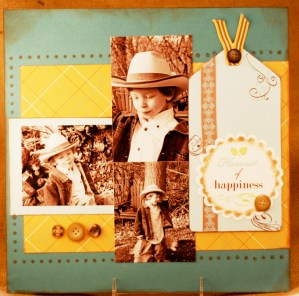 Sepia Tinted photos on scrapbook page