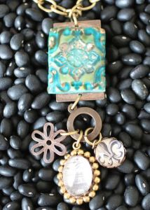 Faux Ceramic Tile Pendant and frech accent beads