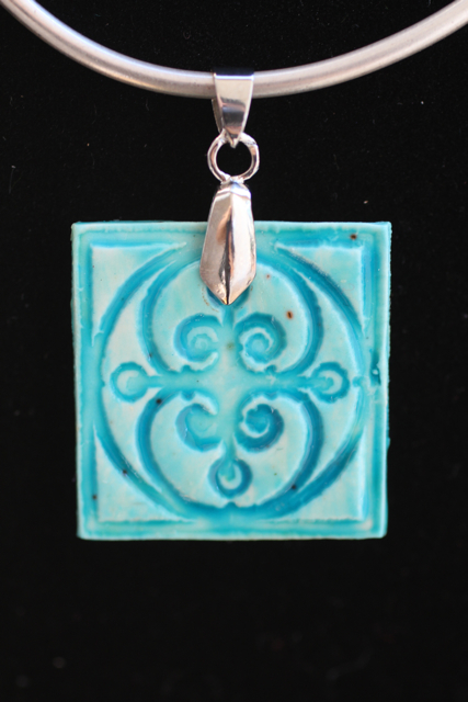 Faux Ceramic Polymer Clay Pendant