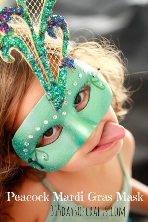 peacock Mardi gras mask t