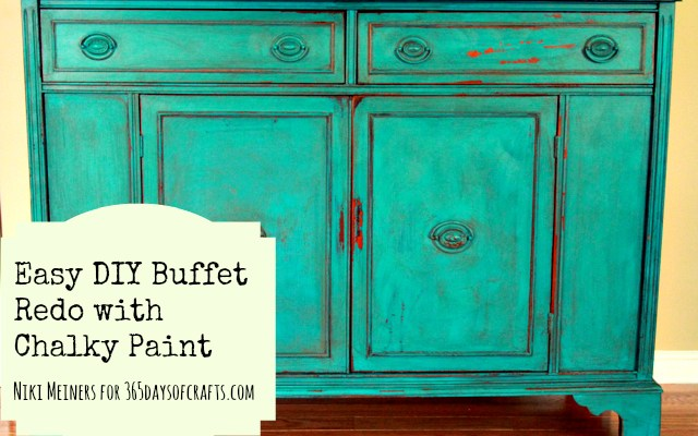 chalky paint DIY buffet redo