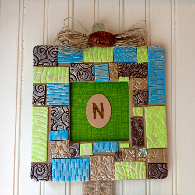 Mosaic polymer clay picture frame