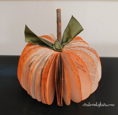 09 - Creations by kara - Book Page Pumpkin