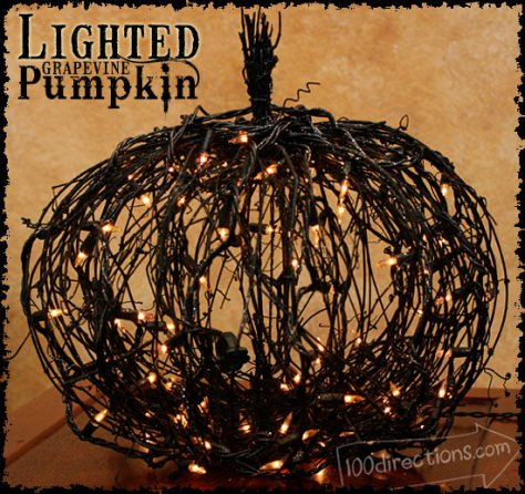 13 - 365 Days of Crafts - Lighted Grapevine Pumpkin