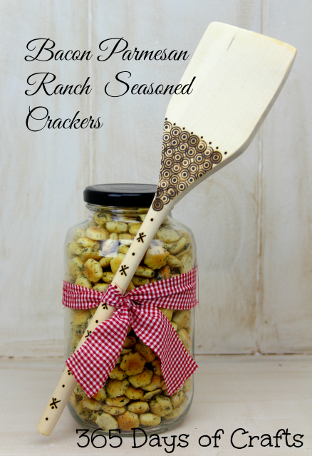 Bacon Ranch Parmesan seasoned crackers gift in a jar pyrogrophy