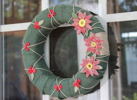 country chic wreath with polymer clay and buttons