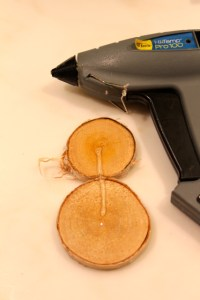 hot glue wood slices