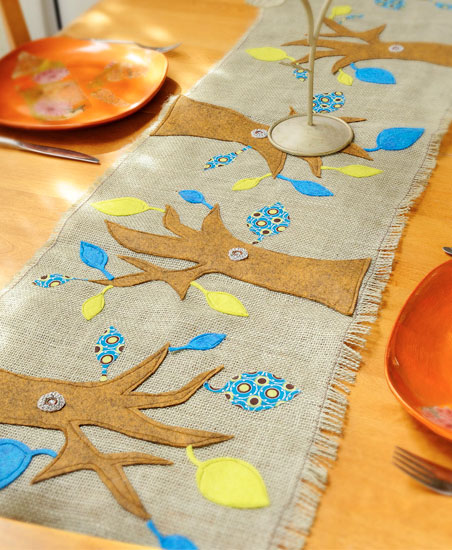 whimsical tree table runner