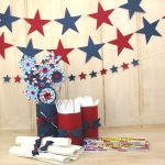 square 4th of july banner, and table settings party decorations