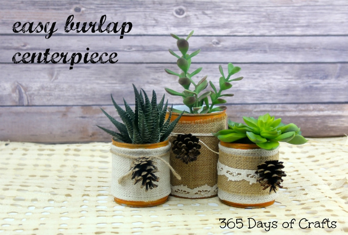 easy burlap centerpiece