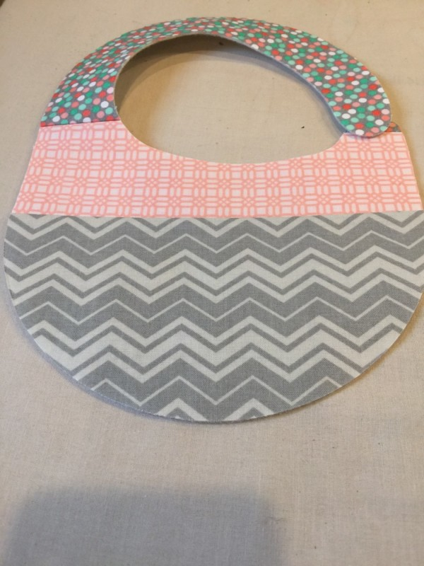 fabric baby bib coral and grey