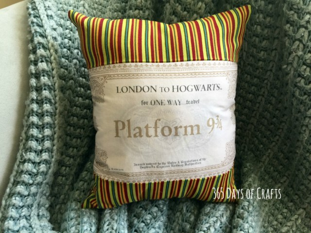 a Harry Potter Pillow- Ticket to Hogwarts