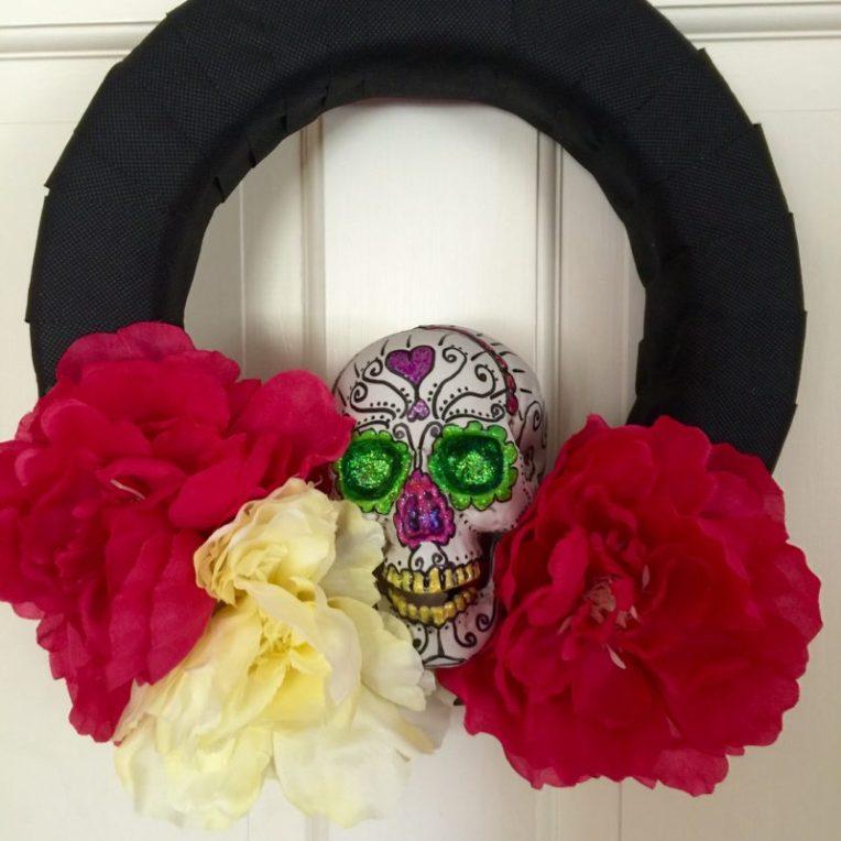 sugar skull wreath tutorial