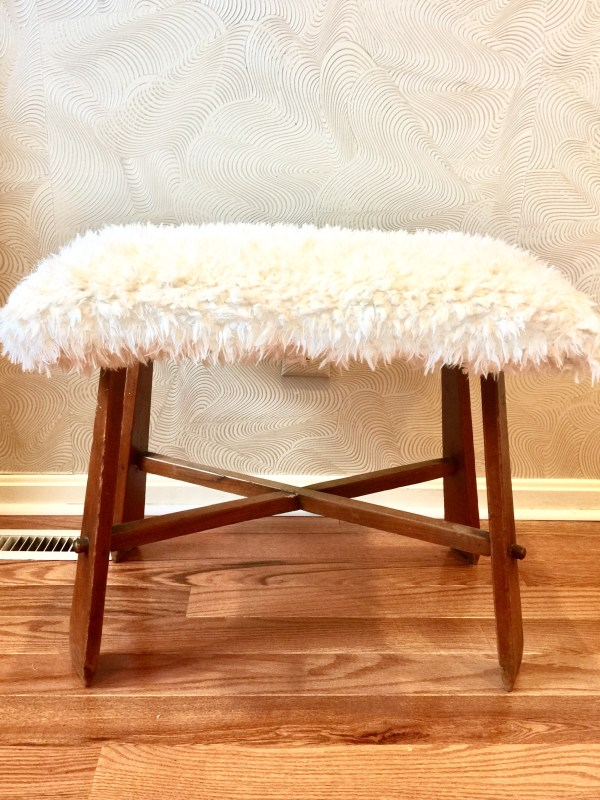 faux flokati bench