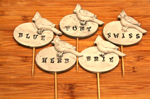 custom cheese markers for a wine a cheese party