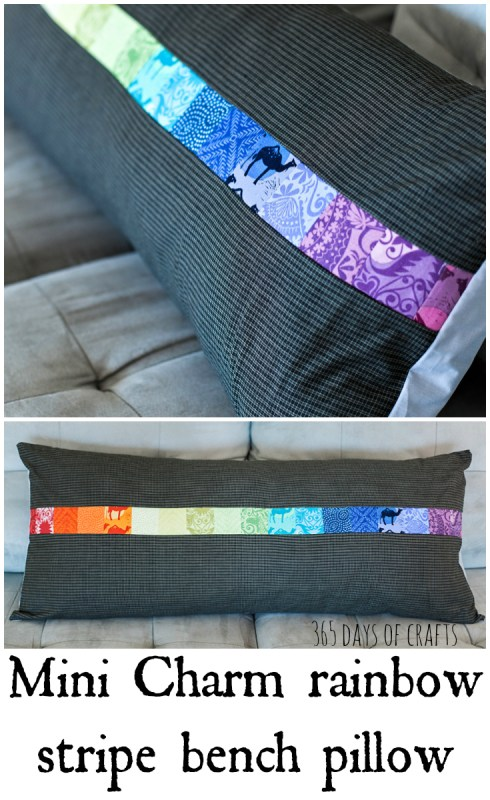 mini charm rainbow stripe bench pillow easy sew idea