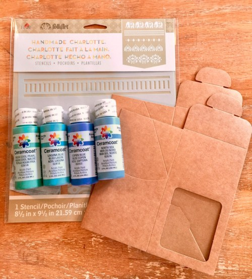 learn how to create custom gift packaging with stencil and paint and clearbag kraft paper boxes