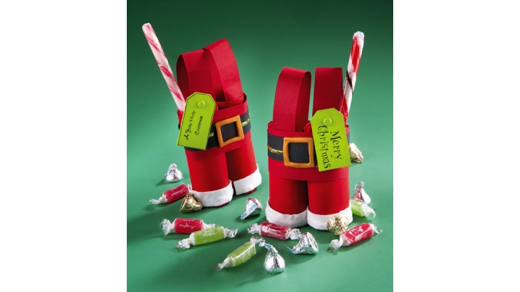 Santa pants Christmas craft using cardboard tubes