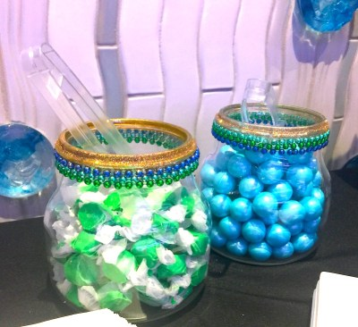 peacock color candy buffet for a mardi gras party gala