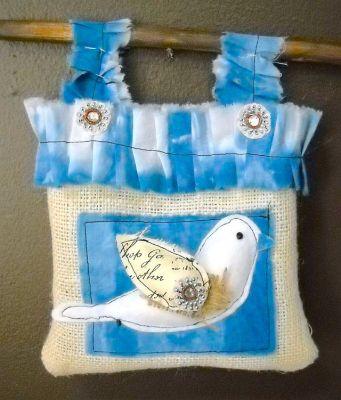 shibori fabric bird tote