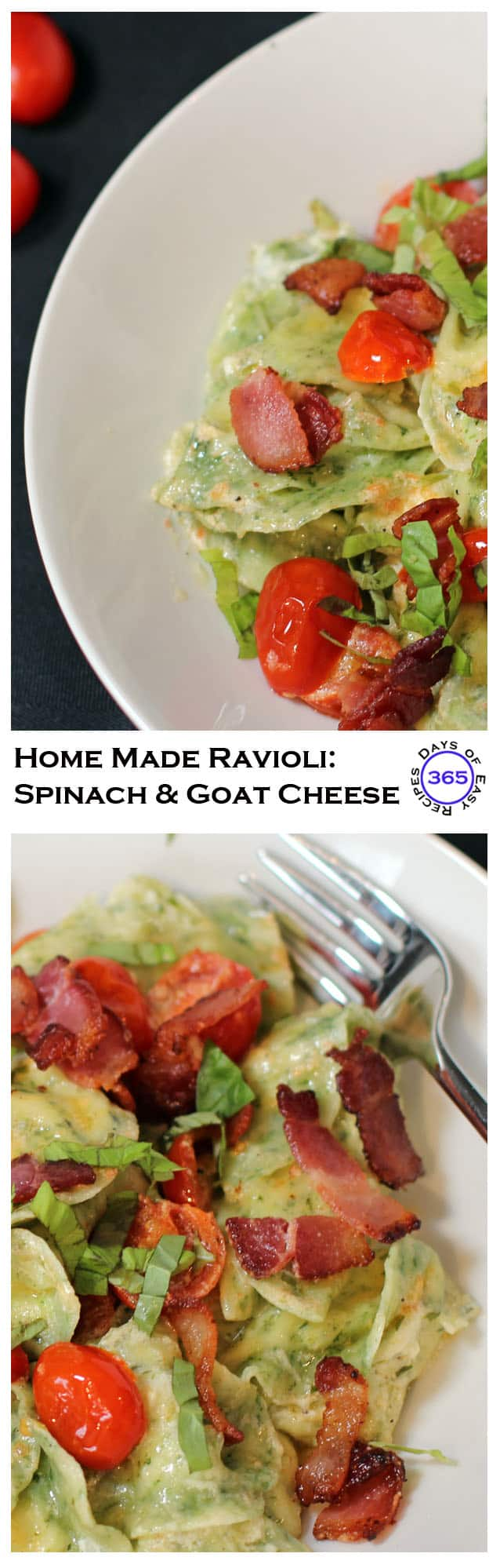 A delicious home made ravioli made from spinach pasta and goat cheese filling. AMAZING!! Get the ladies together for a day of wine and ravioli making. | 365 Days of Easy Recipes