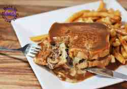 Hot Hamburger Sandwiches combine an all beef hamburger patty with cheese and gravy | 365 Days of Easy Recipes