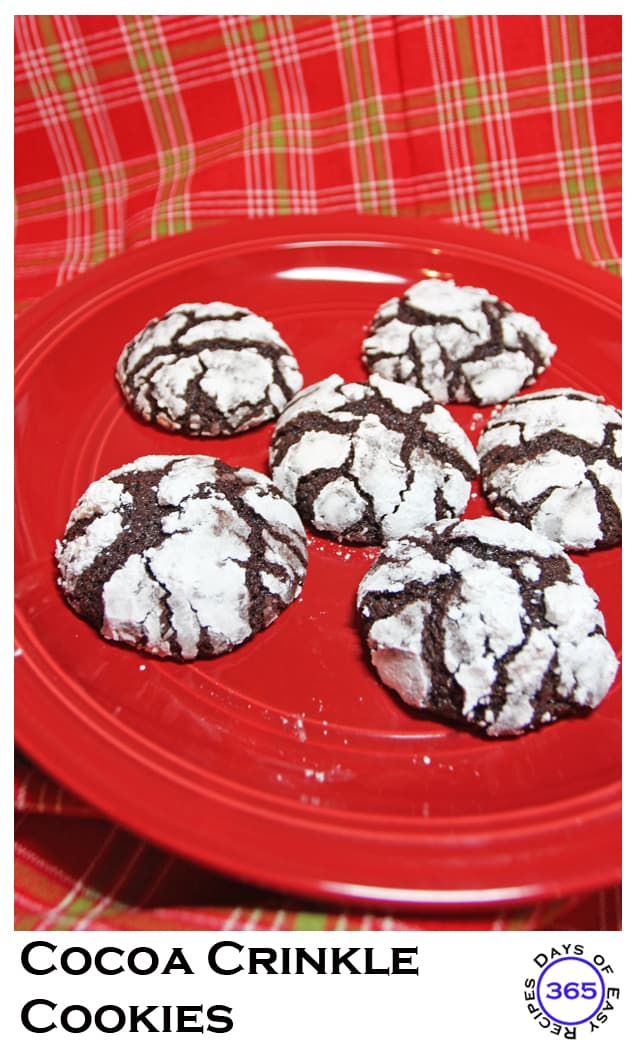 Cocoa Crinkle Cookies | 12 Days of Easy Christmas Cookies 365daysofeasyrecipes.com