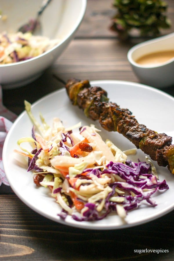 Jerk Beef Kabobs with Sunshine Slaw
