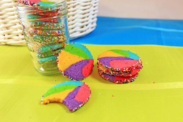These fun Rainbow Sugar Cookies look like they are straight from Willy Wonka's factory. They would make the perfect Easter cookie. | 365 Days of Easy Recipes