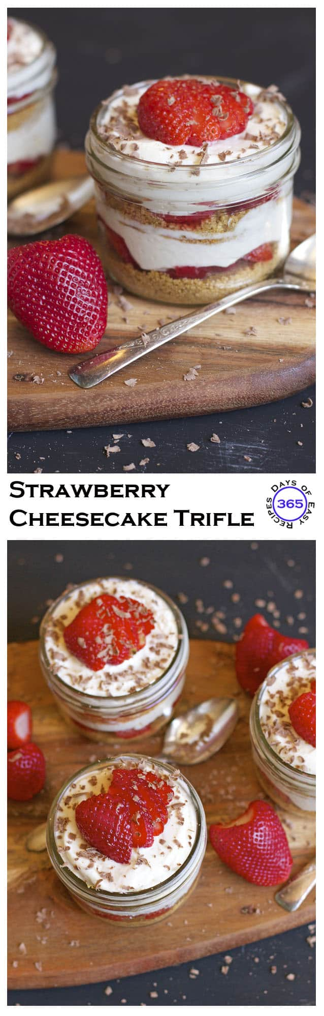 Light and fluffy Strawberry Cheesecake Trifle - serve in individual mason jars for the perfect picnic dessert | 365 Days of Easy Recipes