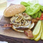 #111 –  BBQ Hamburgers with Mozza Cheese, Bacon, Mushrooms & Onions