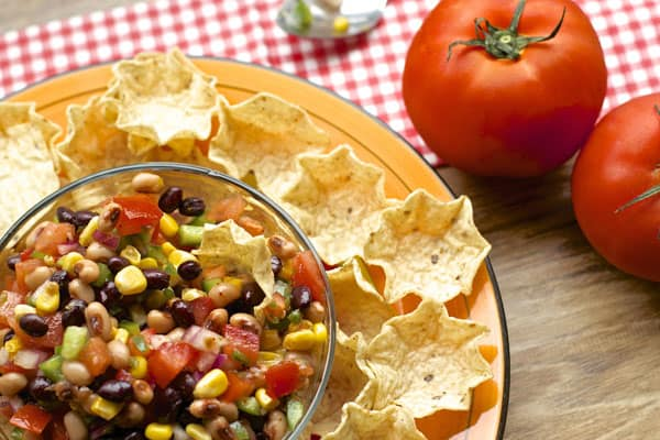 Mexican Bean Salsa makes the ultimate healthy party appetizer. It's easy to make, using fresh vegetables and pantry items. | 365 Days of Easy Recipes