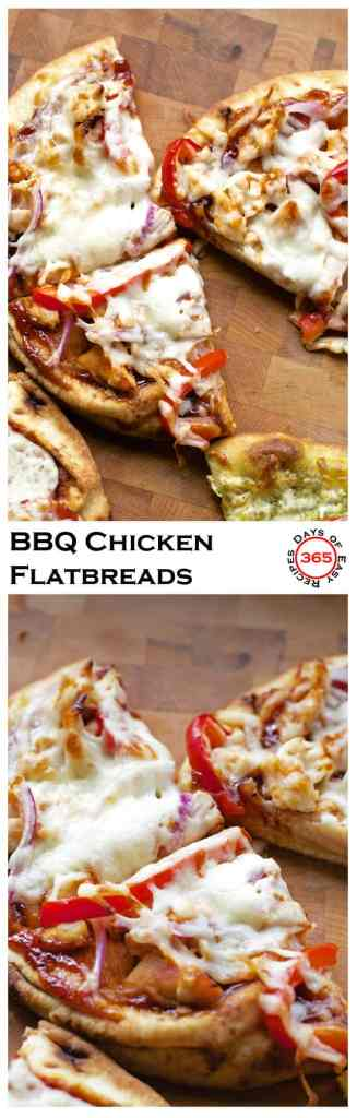BBQ Chicken Flatbread pizzas are different from a traditional pizza but oh so delicious | 365 Days of Easy Recipes