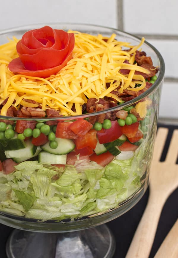 This seven layer salad with ranch dressing makes the ultimate easy potluck dish. People will keep coming back for more | 365 Days of Easy Recipes